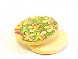 Bouton en bois 25 mm - imprimé fleurs du jardin