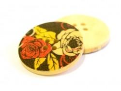 Bouton en bois 25 mm - imprimé black roses  - 1