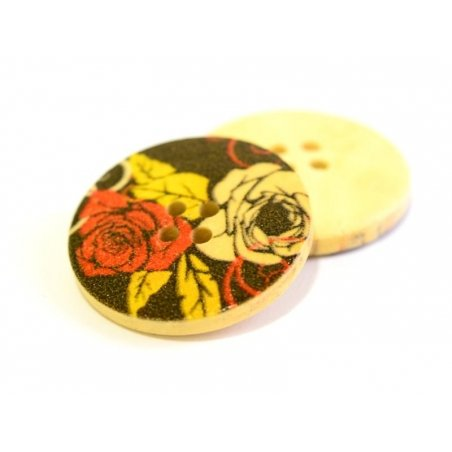Wooden button (25 mm) - Roses on a black background
