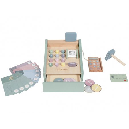 Acheter Caisse enregistreuse en bois verte menthe - 18,89€ en ligne sur La Petite Epicerie - Loisirs créatifs