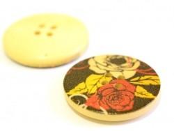 Holzknopf (25 mm) - Rosen auf schwarzem Hintergrund