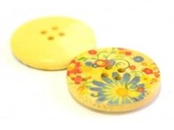 Bouton en bois 25 mm - imprimé fleurs des champs