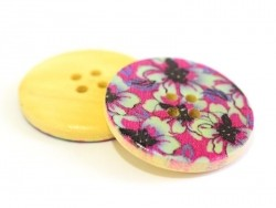 Bouton en bois 25 mm - imprimé fleurs mauves