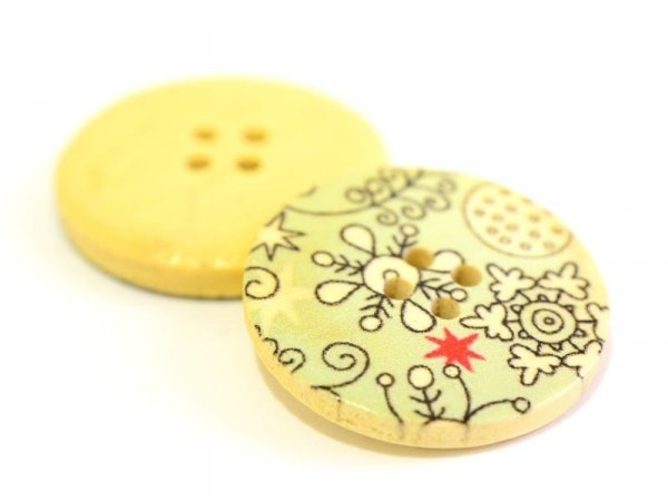 Wooden button (25 mm) - Snowflakes