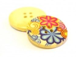 Wooden button (25 mm) - Psychedelic print