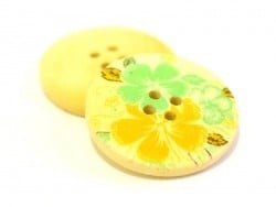 Bouton en bois 25 mm - imprimé fleurs taihiti