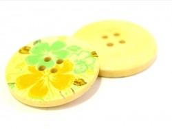Wooden button (25 mm) - Tahitian Gardenia