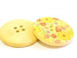 Wooden button (25 mm) - Liberty print