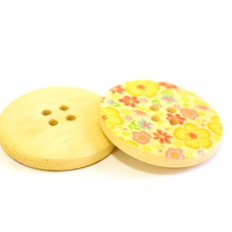 Wooden button (25 mm) - Liberty print