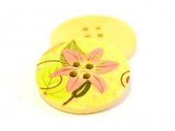 Holzknopf (25 mm) - Rosafarbene, exotische Blumen