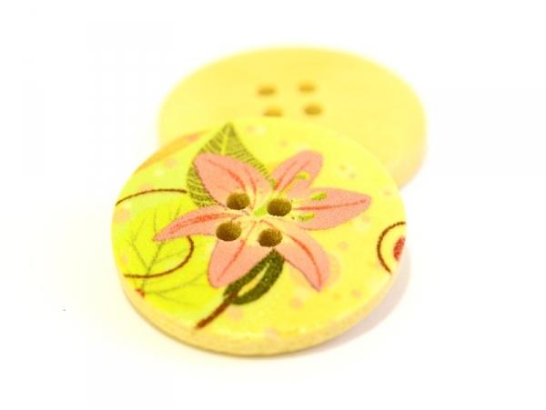 Acheter Bouton en bois 25 mm - imprimé fleur des îles rose - 0,69€ en ligne sur La Petite Epicerie - Loisirs créatifs