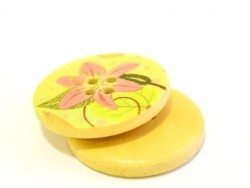 Wooden button (25 mm) - Pink Tahitian Gardenia