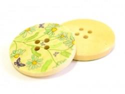Bouton en bois 25 mm - imprimé petites fleurs bleues