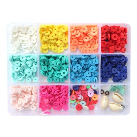 Acheter Boite de 11 couleurs de perles heishi 6 mm POP + accessoires - 12,99€ en ligne sur La Petite Epicerie - Loisirs créa...