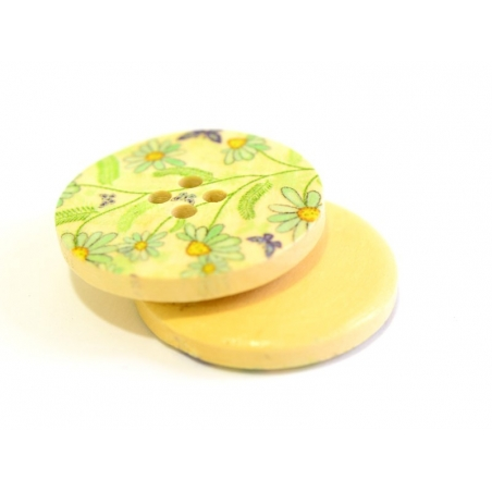 Wooden button (25 mm) - Small blue flowers