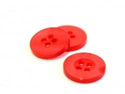 Bouton plastique 15 mm nacré rouge  - 1