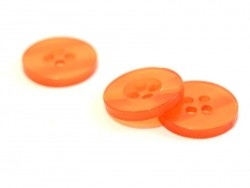 Pearlescent orange plastic button (15 mm)