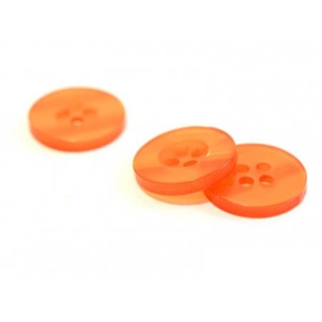 Pearlescent orange plastic button (15 mm)