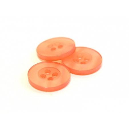 Pearlescent coral-red plastic button (15 mm)