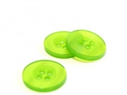 Pearlescent grass-green plastic button (15 mm)
