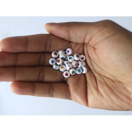 Acheter Lot de 20 perles rondes - Coeurs colorés - 1,19€ en ligne sur La Petite Epicerie - Loisirs créatifs