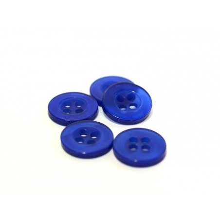 Pearlescent blue plastic button (11 mm)