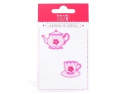 Beautiful iron-on patches - Teapot and cup