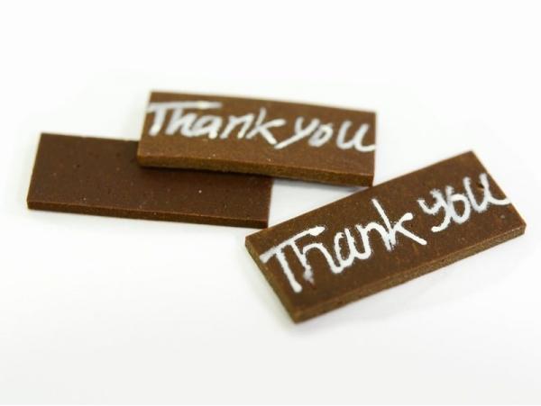 "1 ""Thank you"" chocolate decoration"