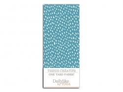 Coupon tissu à motifs - Gouttelettes fond bleu