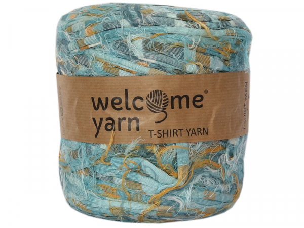 Acheter Grande bobine de fil trapilho - rayures bleues et jaunes avec fantaisies - 7,90€ en ligne sur La Petite Epicerie - L...