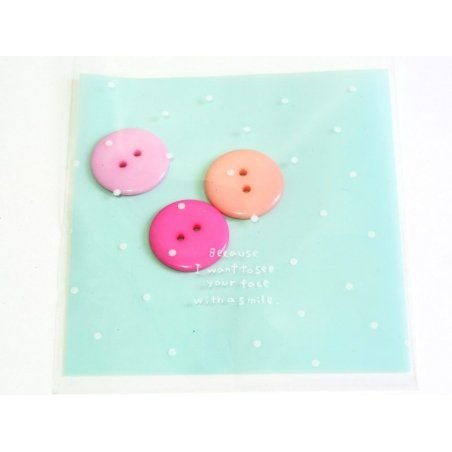 1 plastic bag with adhesive seal - blue with dots