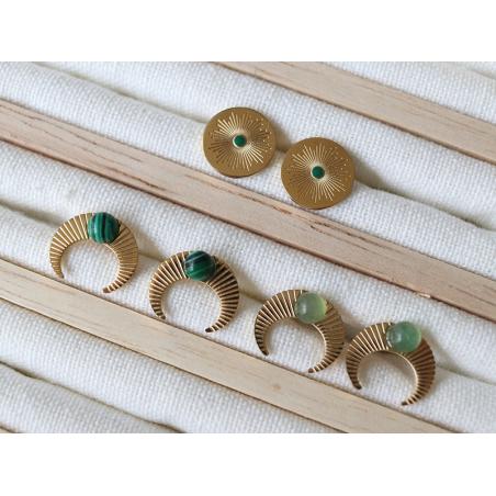 Acheter Boucles d'oreilles croissant de lune - cabochon malachite - 13,99€ en ligne sur La Petite Epicerie - Loisirs créatifs