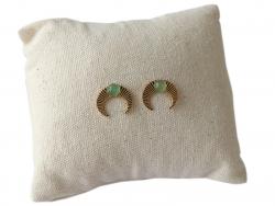 Acheter Boucles d'oreilles croissant de lune - cabochon aventurine - 13,99€ en ligne sur La Petite Epicerie - Loisirs créatifs