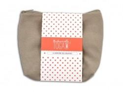 Beige deep zipped pouch - Size M
