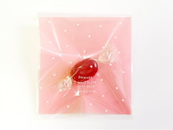 1 sachet plastique adhésif - Rose à pois  - 6