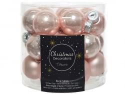 Acheter Lot de 24 mini boules de Noël en verre - rose poudré -2,5 cm - 3,99€ en ligne sur La Petite Epicerie - Loisirs créatifs