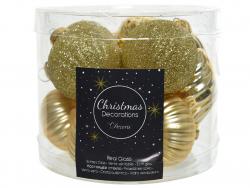 Acheter Assortiment de boules de Noël en verre à paillettes - or clair - 4,99€ en ligne sur La Petite Epicerie - Loisirs cré...