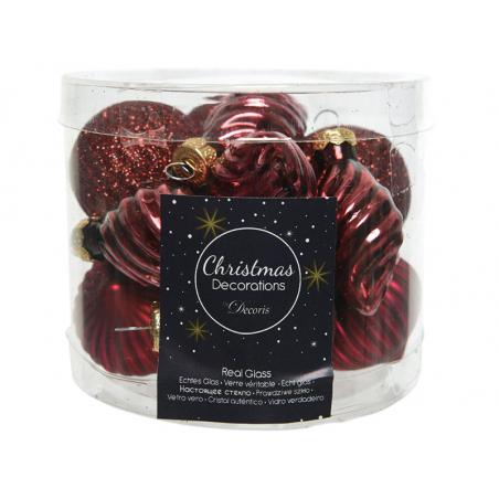 Acheter Assortiment de boules de Noël en verre à paillettes - bordeaux - 4,99€ en ligne sur La Petite Epicerie - Loisirs cré...