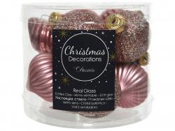 Acheter Assortiment de boules de Noël en verre à paillettes - vieux rose - 4,99€ en ligne sur La Petite Epicerie - Loisirs c...
