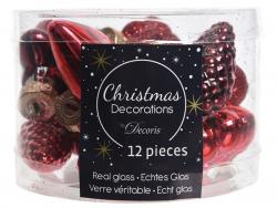 Acheter Assortiment de 12 boules de Noël - tons de rouges - 4,99€ en ligne sur La Petite Epicerie - Loisirs créatifs