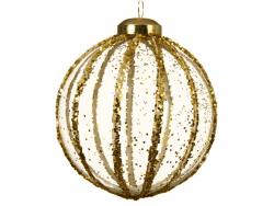 Acheter Boule de Noël en verre 8 cm - lignes de paillettes dorées - 2,99€ en ligne sur La Petite Epicerie - Loisirs créatifs