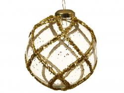 Acheter Boule de Noël en verre 8 cm - harlequin de paillettes dorées - 2,49€ en ligne sur La Petite Epicerie - Loisirs créatifs