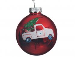 Acheter Boule de Noël en verre rouge - voiture et sapin - 6 cm - 1,99€ en ligne sur La Petite Epicerie - Loisirs créatifs