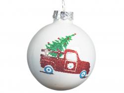 Acheter Boule de Noël en verre blanc - voiture et sapin - 6 cm - 1,99€ en ligne sur La Petite Epicerie - Loisirs créatifs