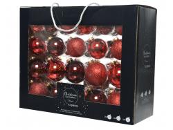 Acheter Coffret de 42 boules en verre et à paillettes - tons rouges - tailles assorties - 29,99€ en ligne sur La Petite Epic...