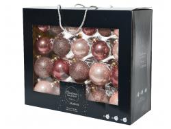 Acheter Coffret de 42 boules en verre et à paillettes - tons vieux rose - tailles assorties - 29,99€ en ligne sur La Petite ...