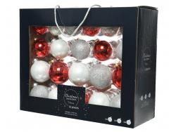 Acheter Coffret de 42 boules en verre et à paillettes - tons rouges et blancs - tailles assorties - 29,99€ en ligne sur La P...