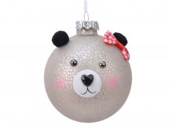 Acheter Boule de Noêl en verre oursonne coquette - 8 cm - 3,99€ en ligne sur La Petite Epicerie - Loisirs créatifs
