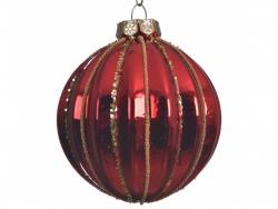 Acheter Boule de Noël rouge décorée avec des traits dorés - 8 cm - 2,99€ en ligne sur La Petite Epicerie - Loisirs créatifs