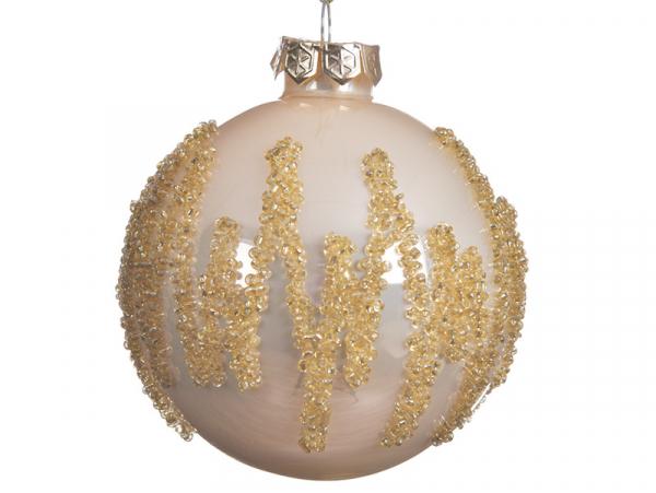 Acheter Boule de Noël blanche avec perles dorées - 8 cm - 2,99€ en ligne sur La Petite Epicerie - Loisirs créatifs